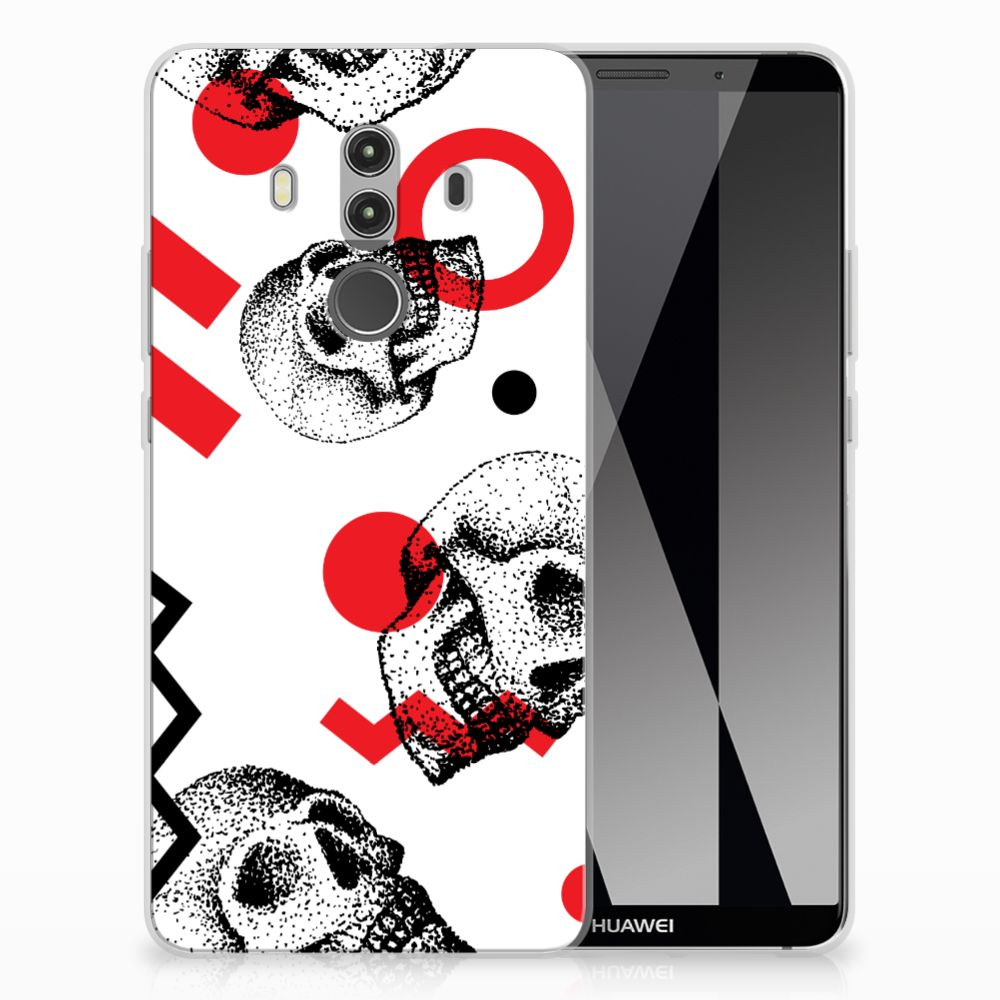 Silicone Back Case Huawei Mate 10 Pro Skull Red