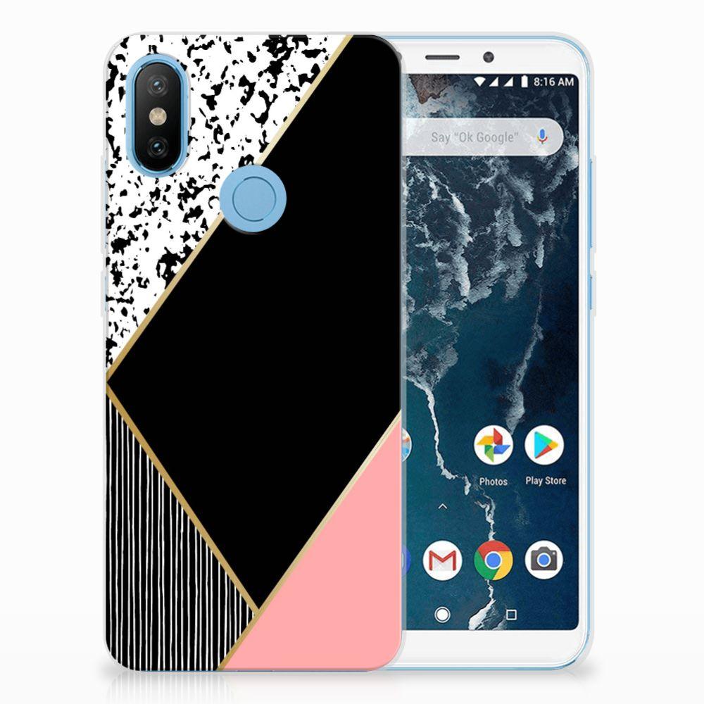Xiaomi Mi A2 TPU Hoesje Black Pink Shapes