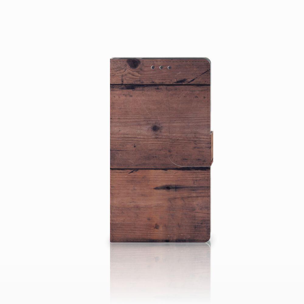 Samsung Galaxy Note 4 Uniek Boekhoesje Old Wood
