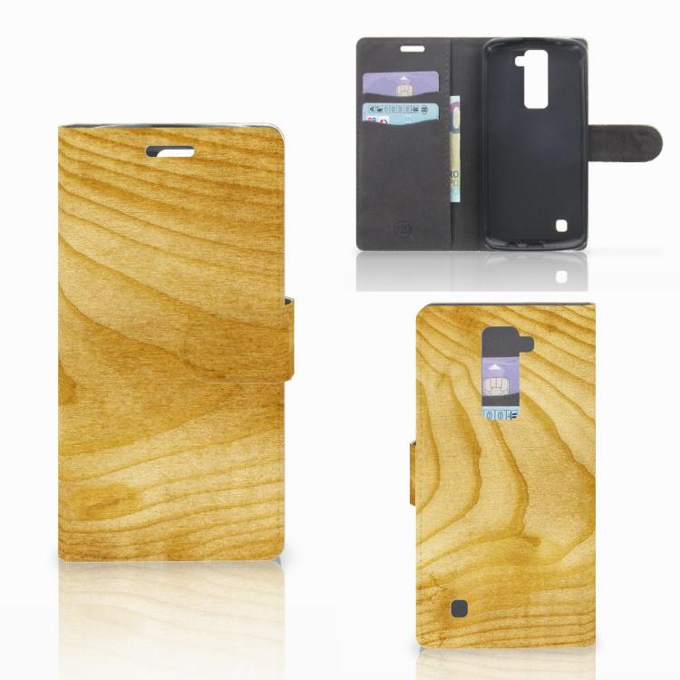 LG K10 2015 Book Style Case Licht Hout