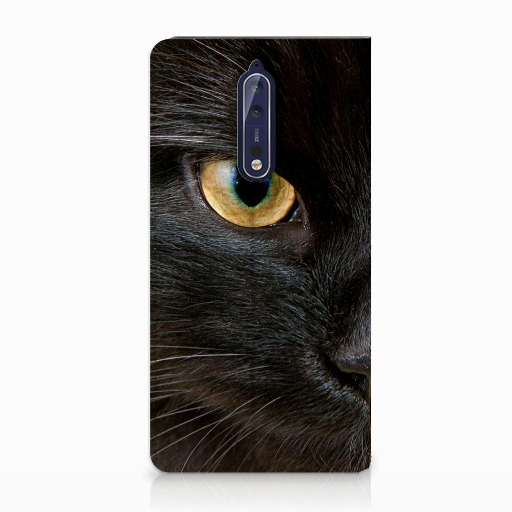 Nokia 8 Uniek Standcase Hoesje Zwarte Kat