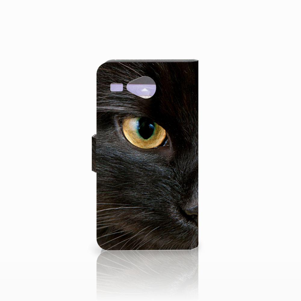 Acer Liquid Z520 Telefoonhoesje met Pasjes Zwarte Kat