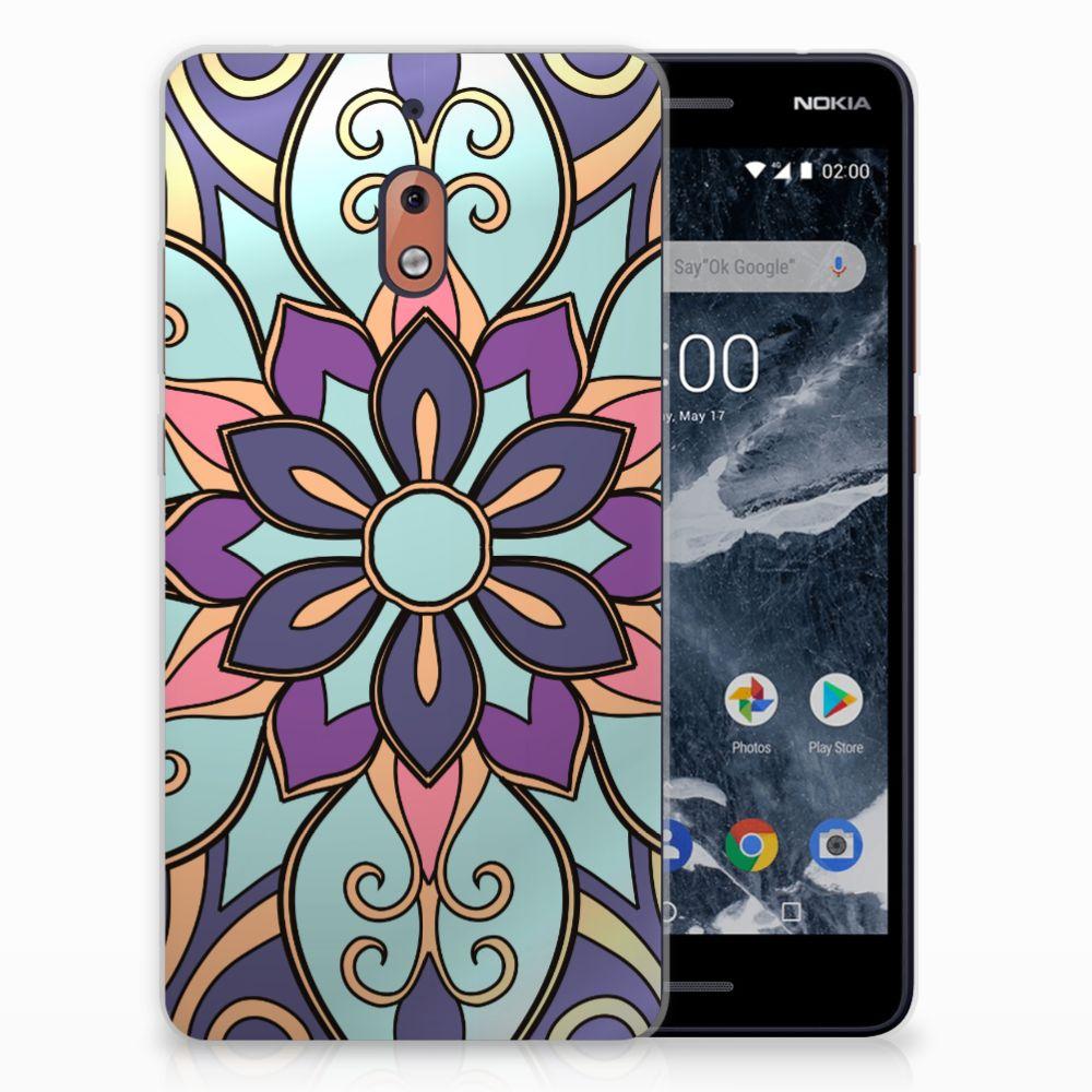 Nokia 2.1 (2018) TPU Hoesje Design Purple Flower