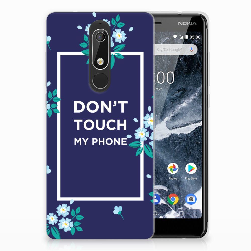Nokia 5.1 (2018) TPU Hoesje Flowers Blue DTMP