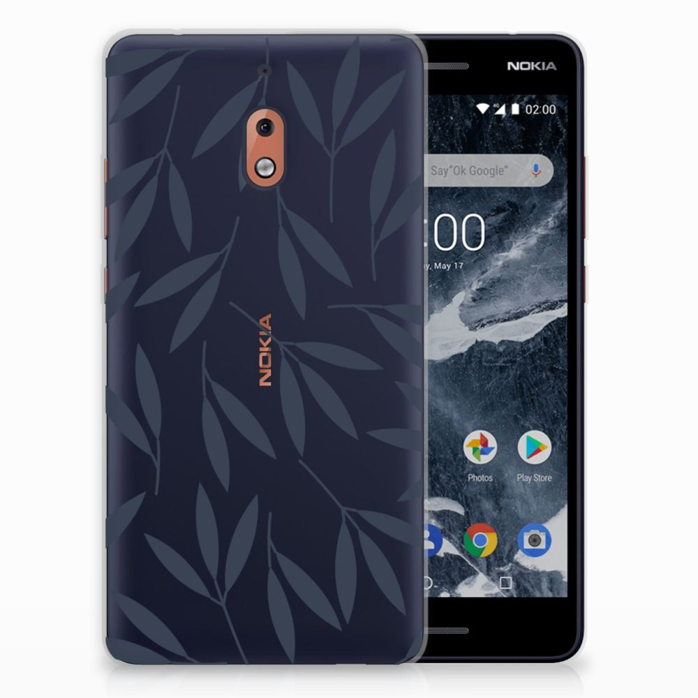 Nokia 2.1 (2018) TPU Hoesje Design Leaves Blue
