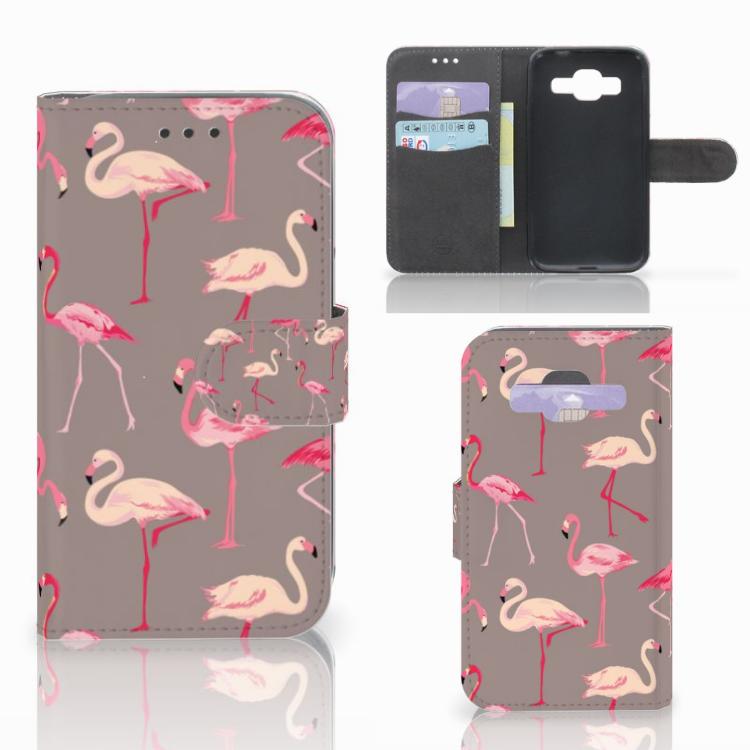 Samsung Galaxy Core Prime Telefoonhoesje met Pasjes Flamingo