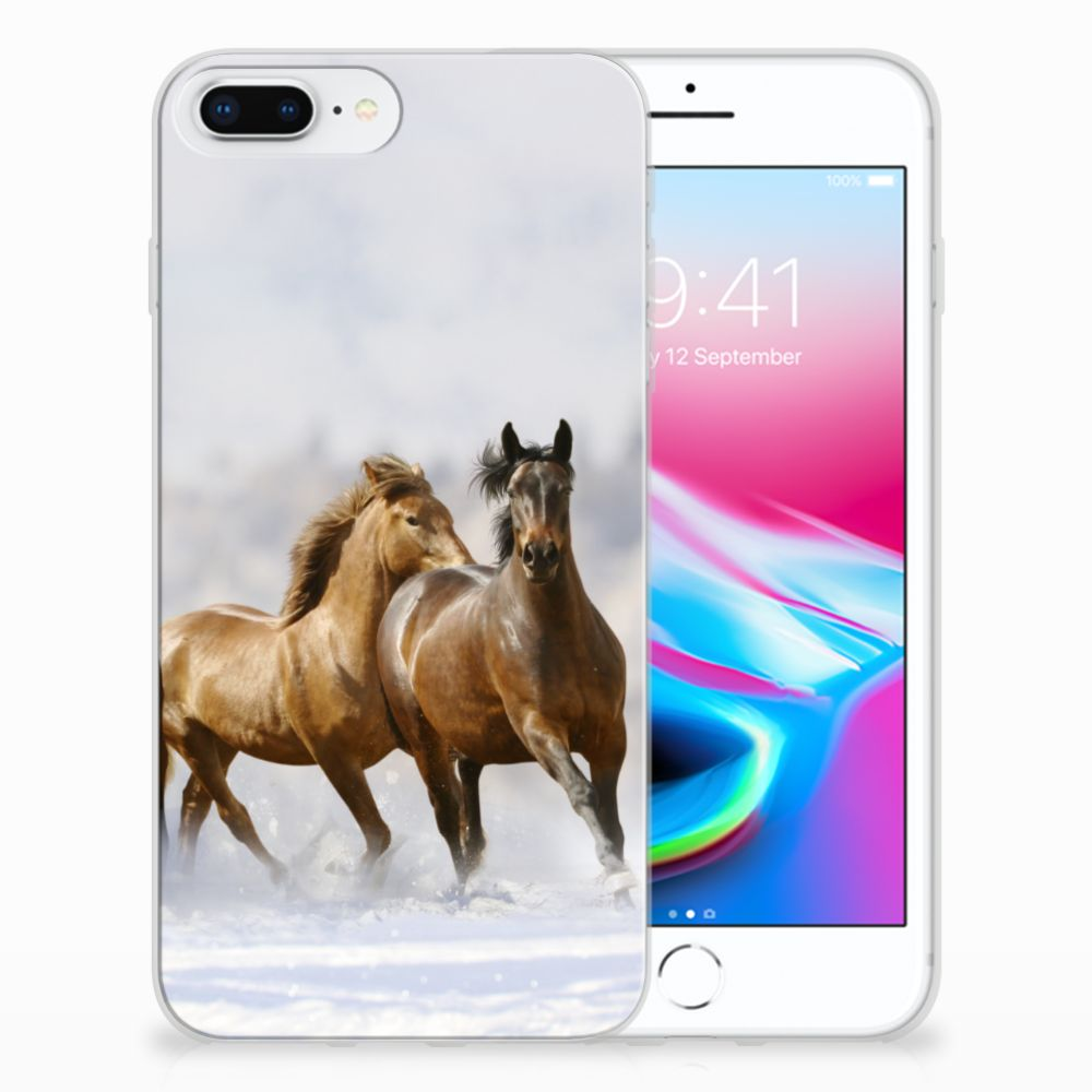 Apple iPhone 7 Plus | 8 Plus Uniek TPU Hoesje Paarden