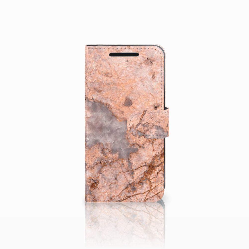 HTC One M9 Bookcase Marmer Oranje