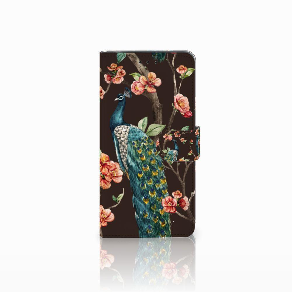 Samsung Galaxy J6 Plus (2018) Telefoonhoesje met Pasjes Pauw met Bloemen