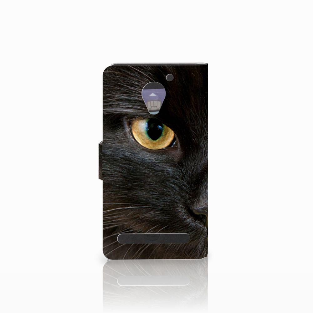 Lenovo C2 Power Telefoonhoesje met Pasjes Zwarte Kat