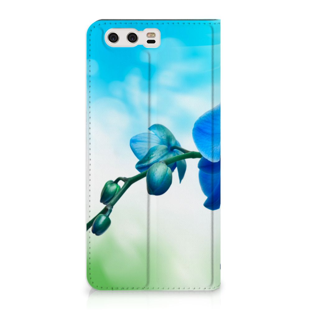 Huawei P10 Plus Standcase Hoesje Design Orchidee Blauw