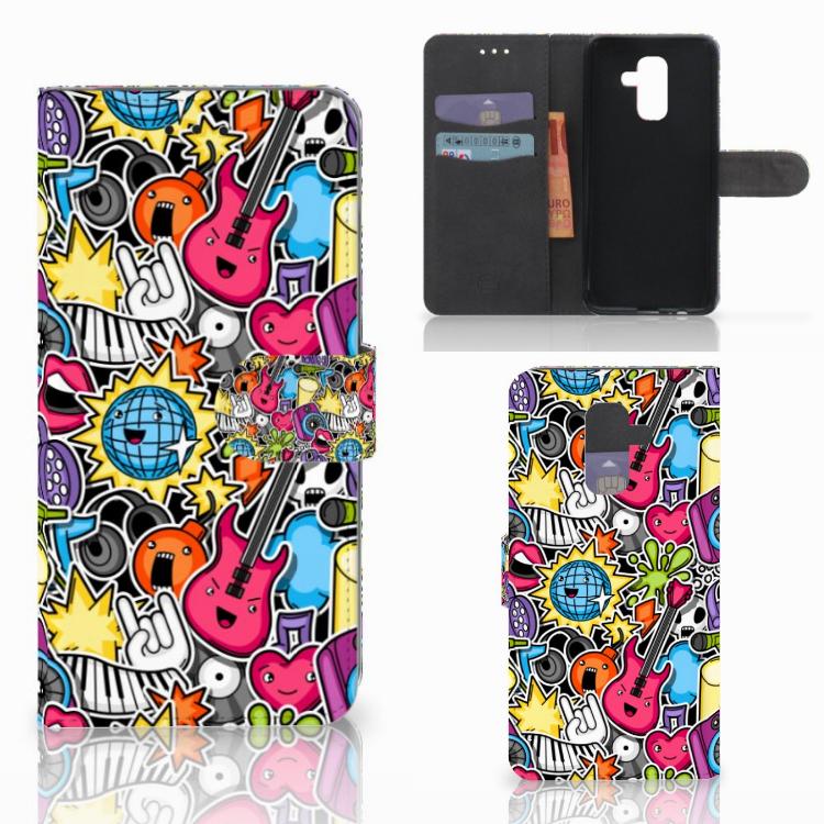 Samsung Galaxy A6 Plus 2018 Wallet Case met Pasjes Punk Rock