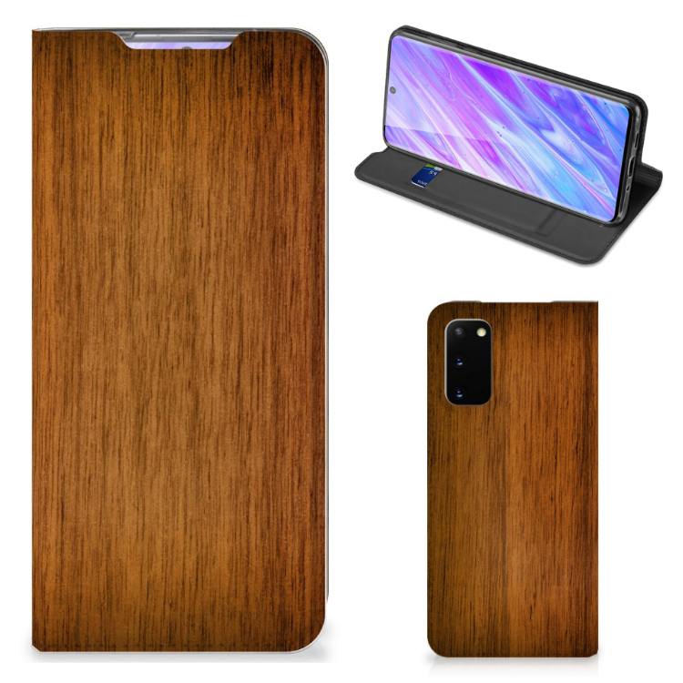 Samsung Galaxy S20 Book Wallet Case Donker Hout