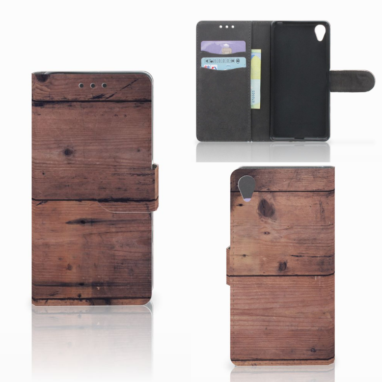 Sony Xperia X Book Style Case Old Wood