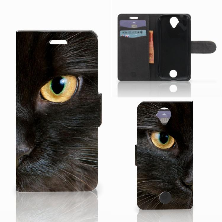 Acer Liquid Z330 Telefoonhoesje met Pasjes Zwarte Kat