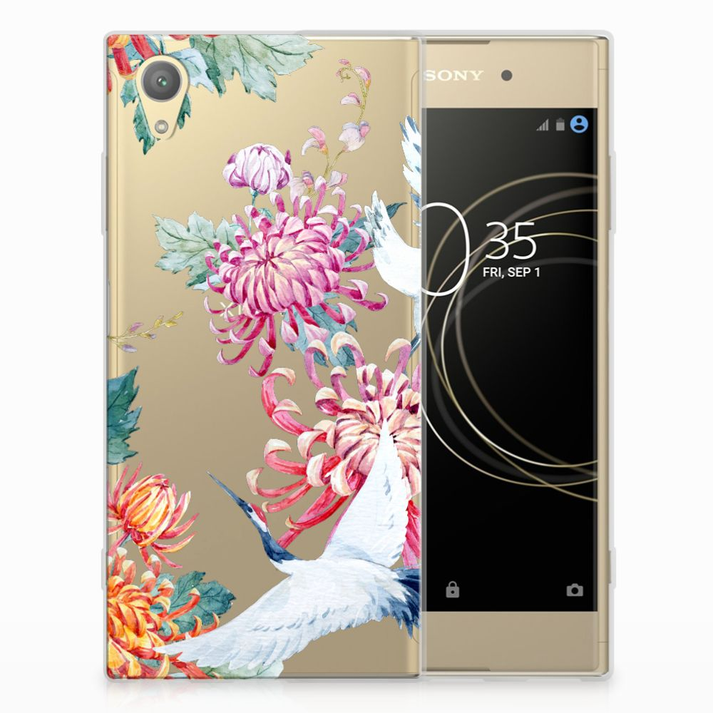 Sony Xperia XA1 Plus TPU Hoesje Bird Flowers
