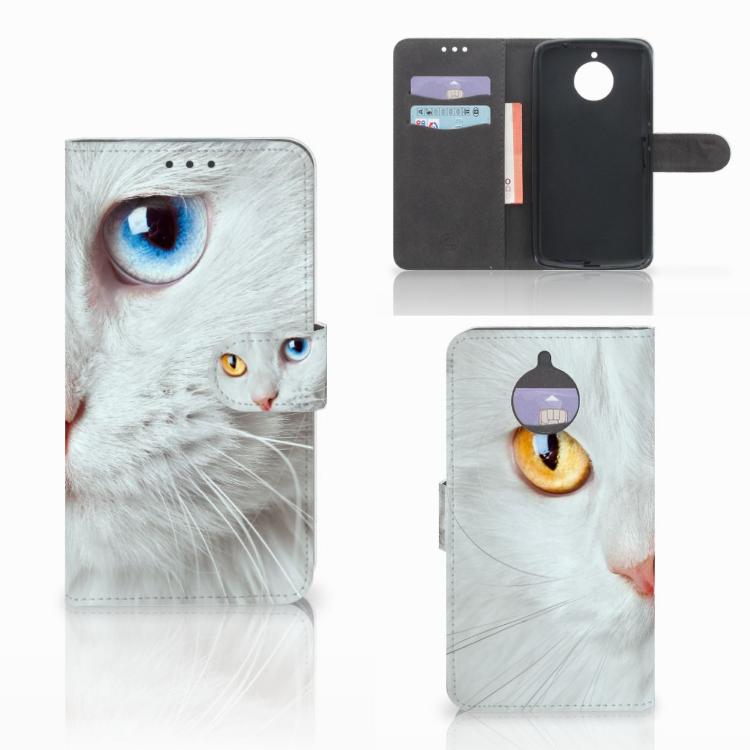 Motorola Moto E4 Plus Telefoonhoesje met Pasjes Witte Kat