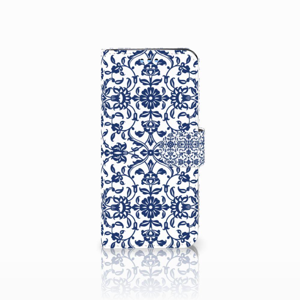 Samsung Galaxy S9 Uniek Boekhoesje Flower Blue