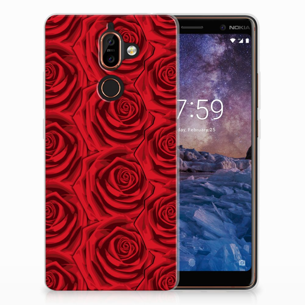 Nokia 7 Plus Uniek TPU Hoesje Red Roses