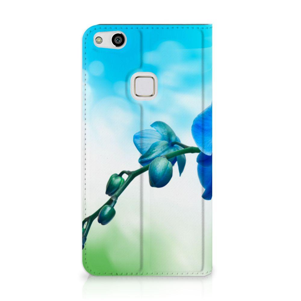 Huawei P10 Lite Standcase Hoesje Design Orchidee Blauw