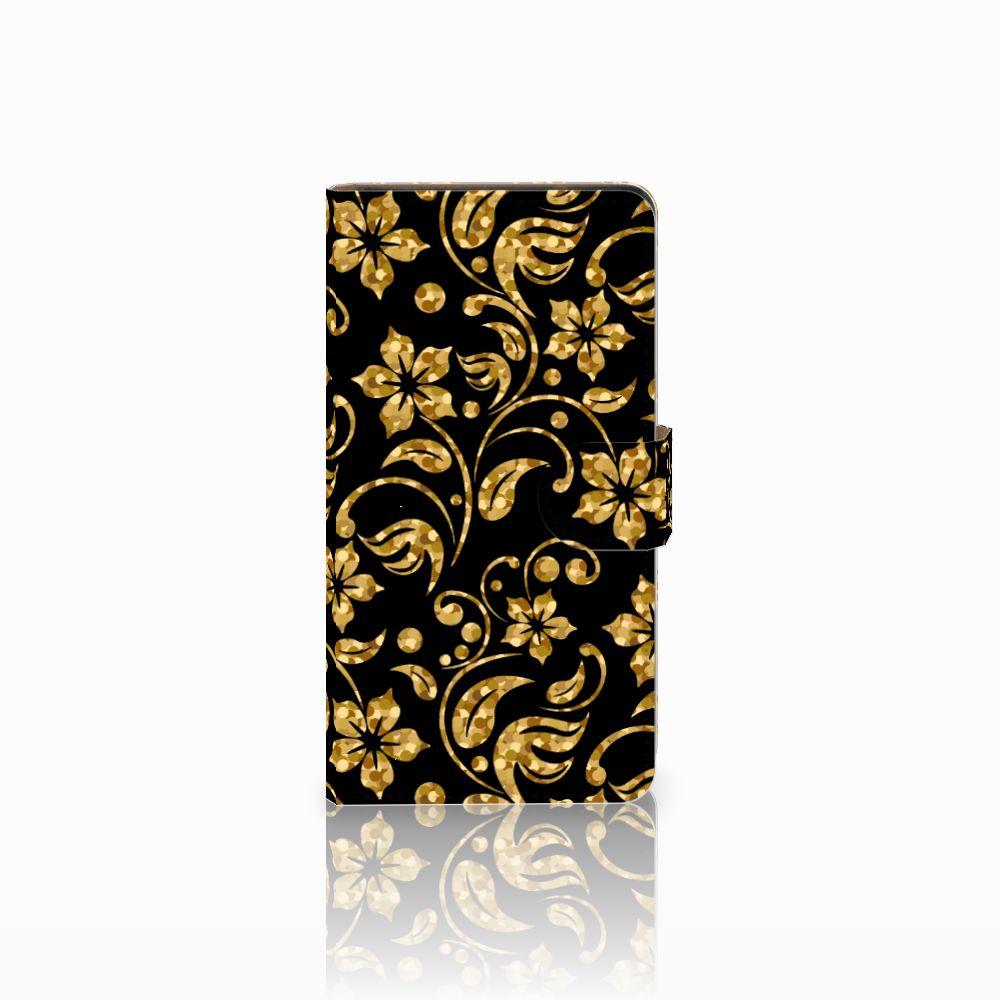 Huawei Ascend G700 Boekhoesje Design Gouden Bloemen