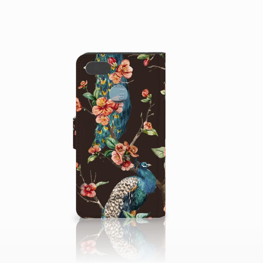 Huawei Y6 Pro 2017 Telefoonhoesje met Pasjes Pauw met Bloemen