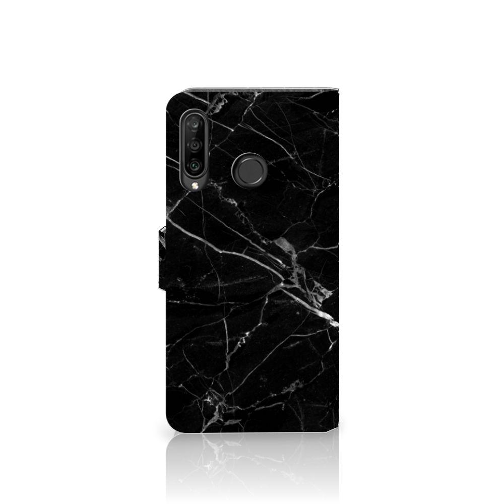 Huawei P30 Lite (2020) Bookcase Marmer Zwart - Origineel Cadeau Vader
