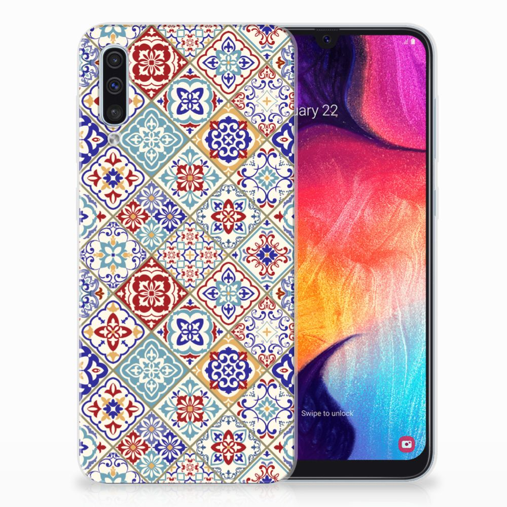 Samsung Galaxy A50 TPU Siliconen Hoesje Tiles Color