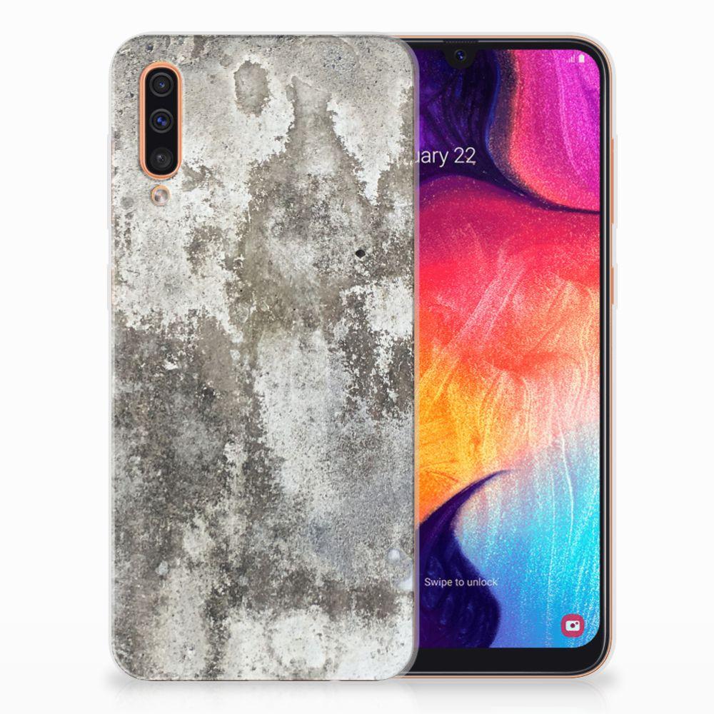 Samsung Galaxy A50 TPU Siliconen Hoesje Beton Print