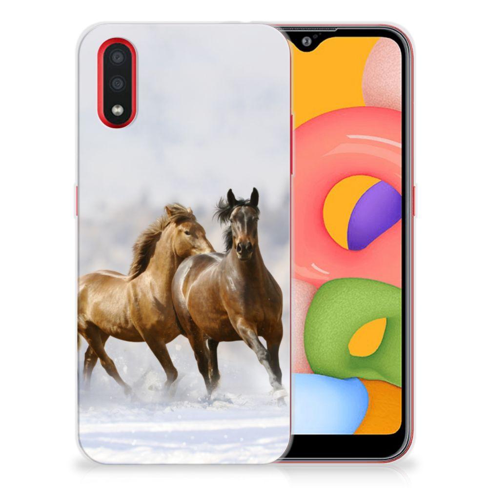 Samsung Galaxy A01 TPU Hoesje Paarden