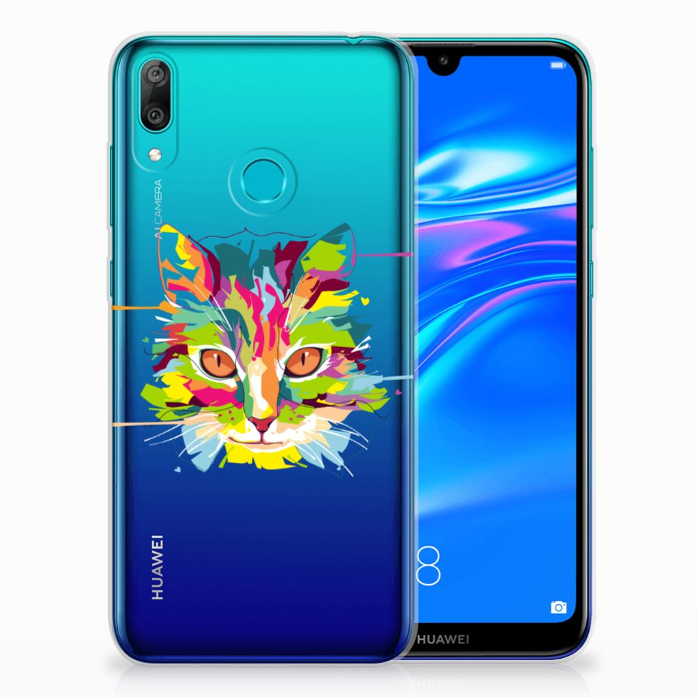 Huawei Y7 2019 Telefoonhoesje met Naam Cat Color