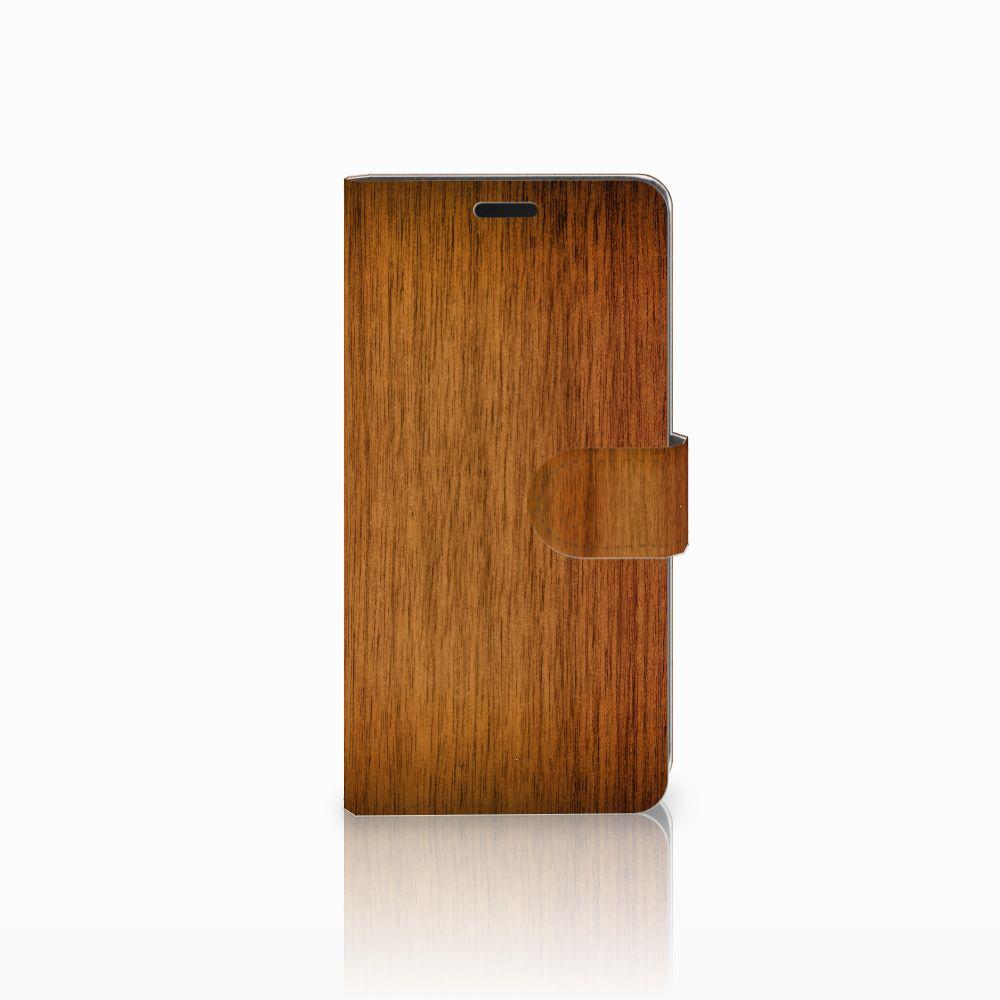 HTC Desire 530 Uniek Boekhoesje Donker Hout