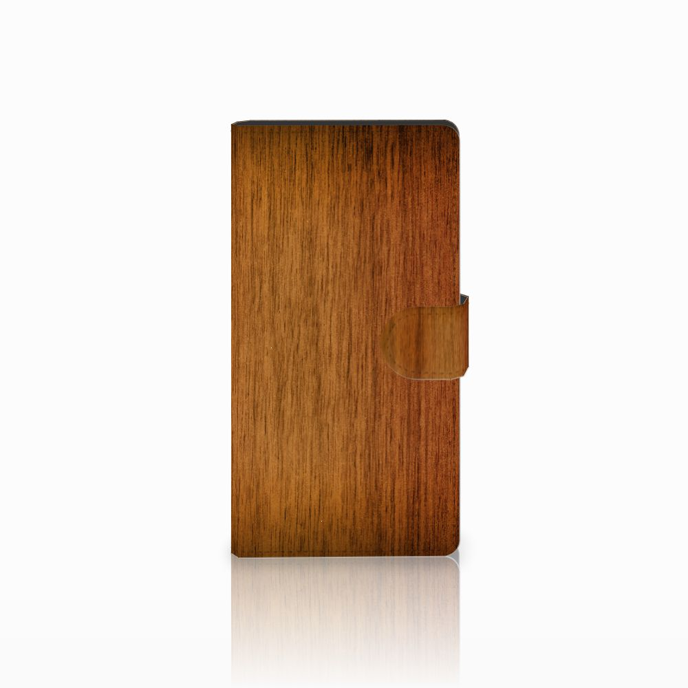 Sony Xperia C4 Uniek Boekhoesje Donker Hout