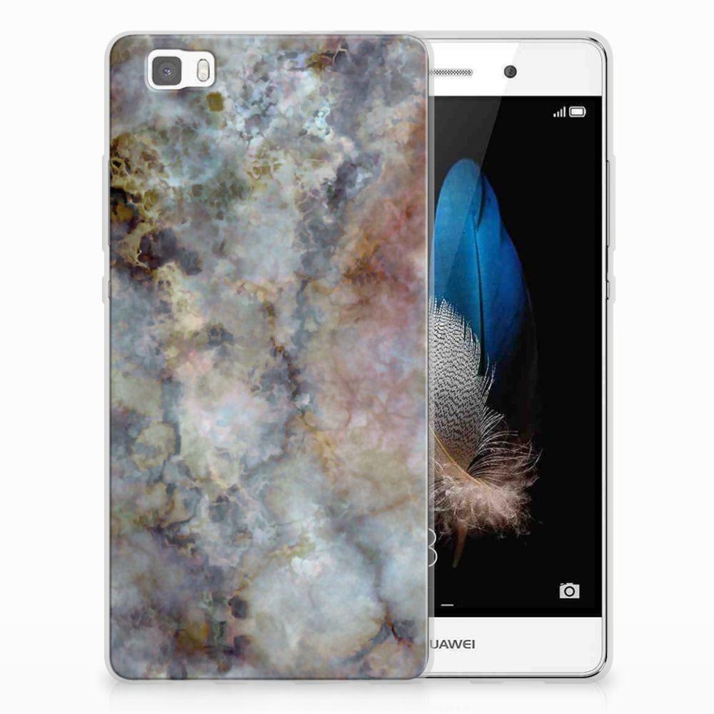 Huawei Ascend P8 Lite TPU Siliconen Hoesje Marmer Grijs