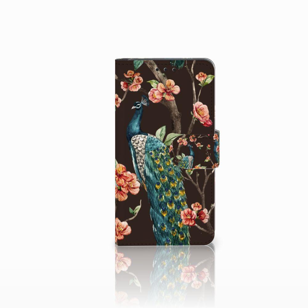 Huawei Y6 Pro 2017 Boekhoesje Design Pauw met Bloemen