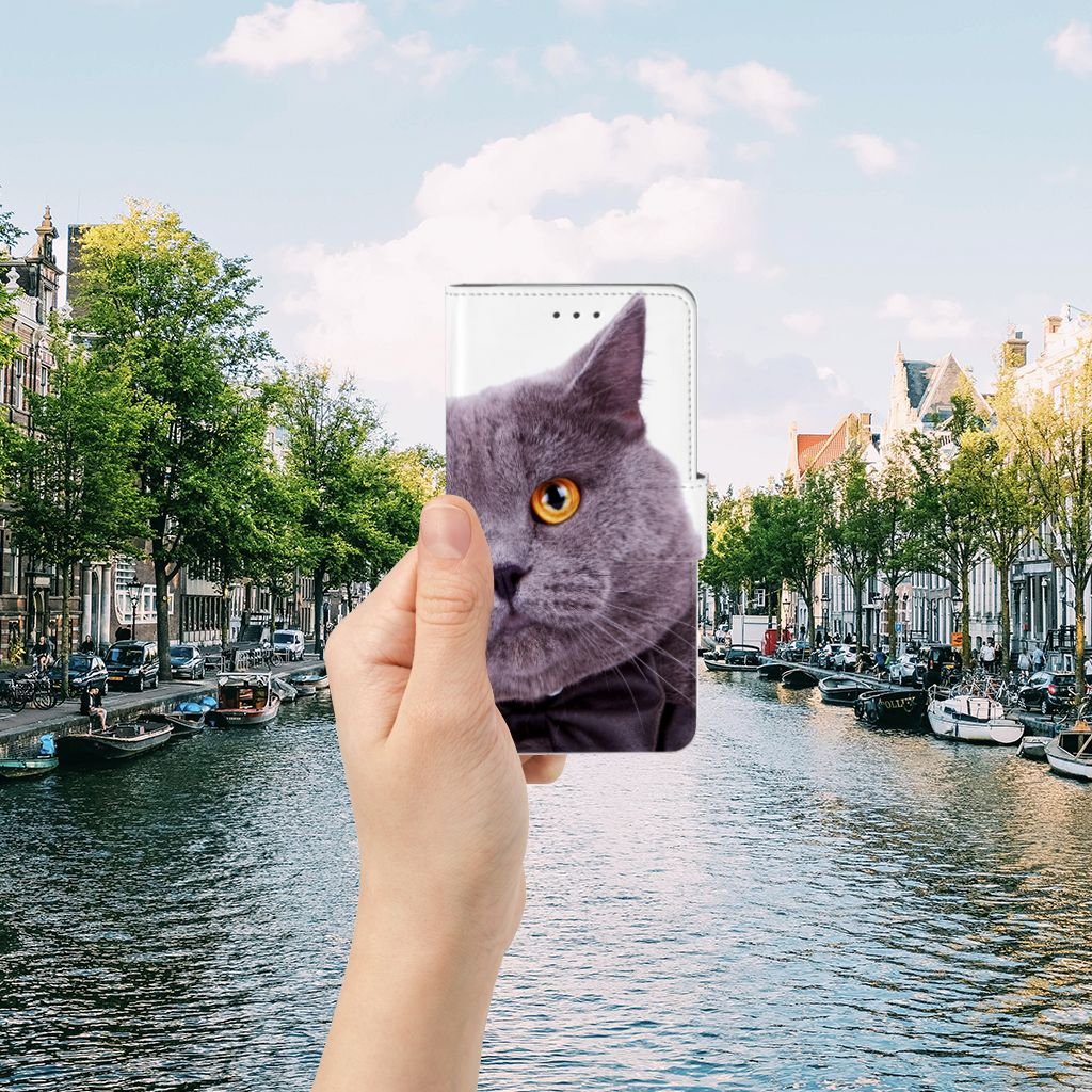 Samsung Galaxy J7 2016 Telefoonhoesje met Pasjes Kat
