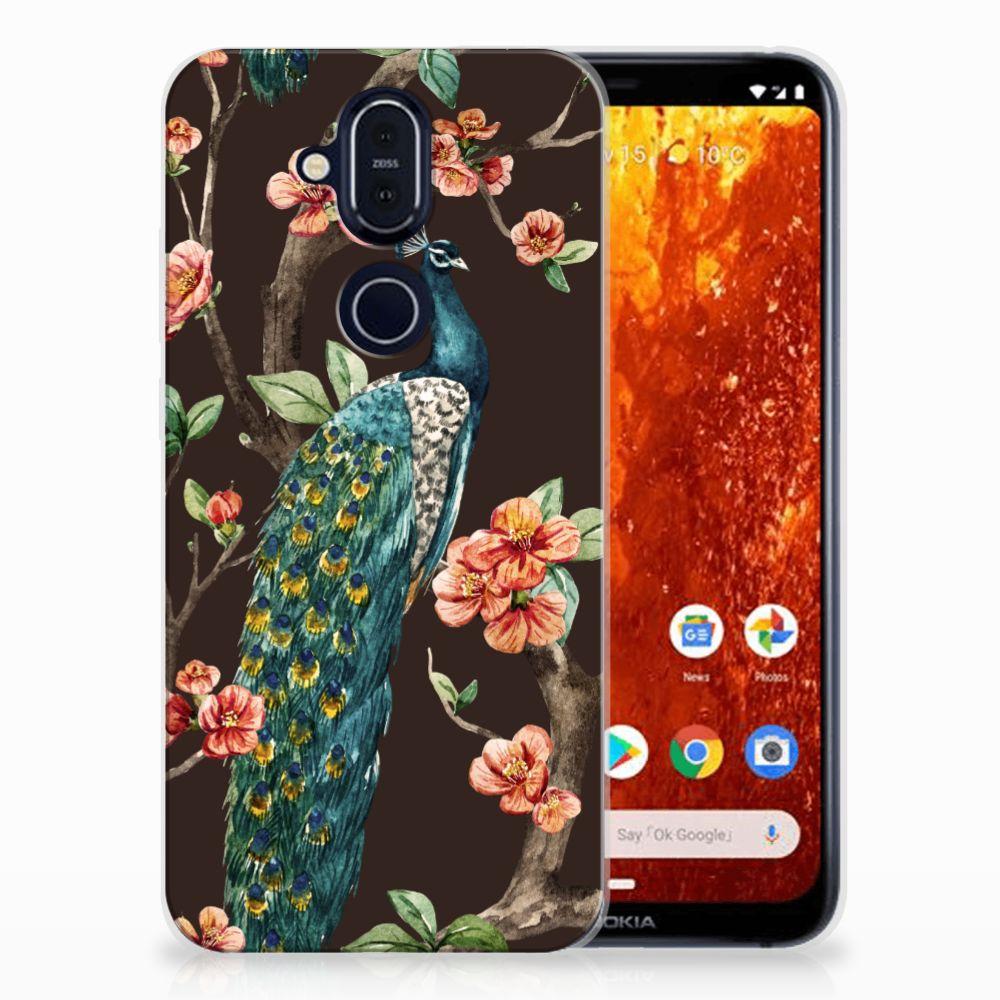 Nokia 8.1 TPU Hoesje Pauw met Bloemen