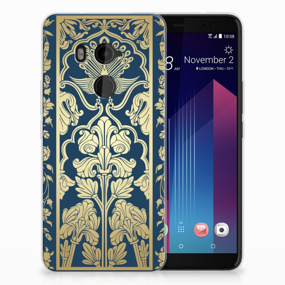 HTC U11 Plus Uniek TPU Hoesje Golden Flowers
