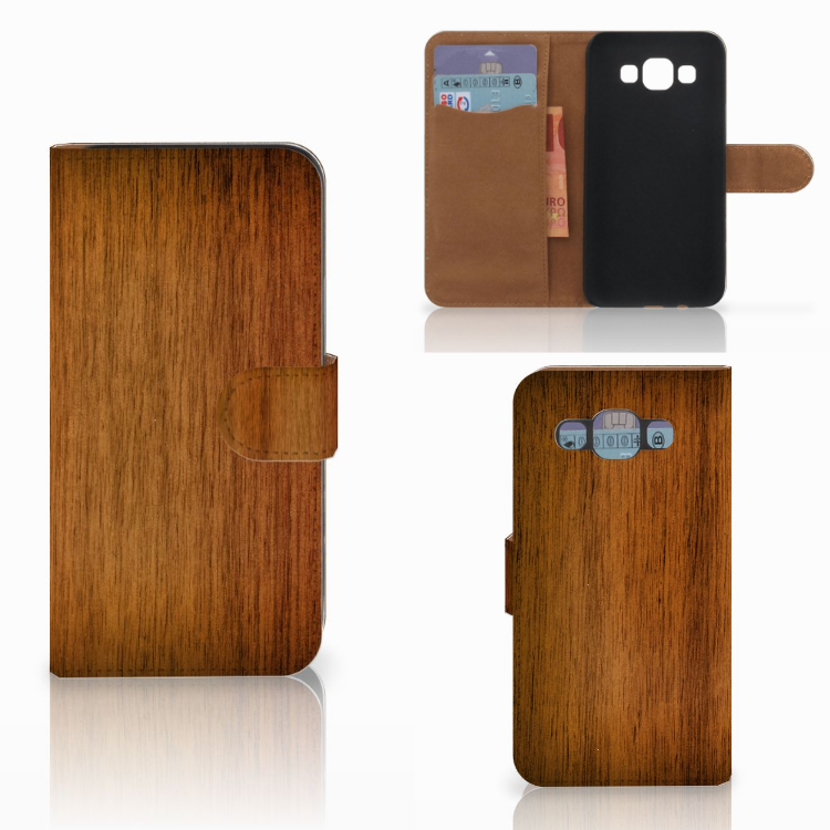 Samsung Galaxy E5 Book Style Case Donker Hout