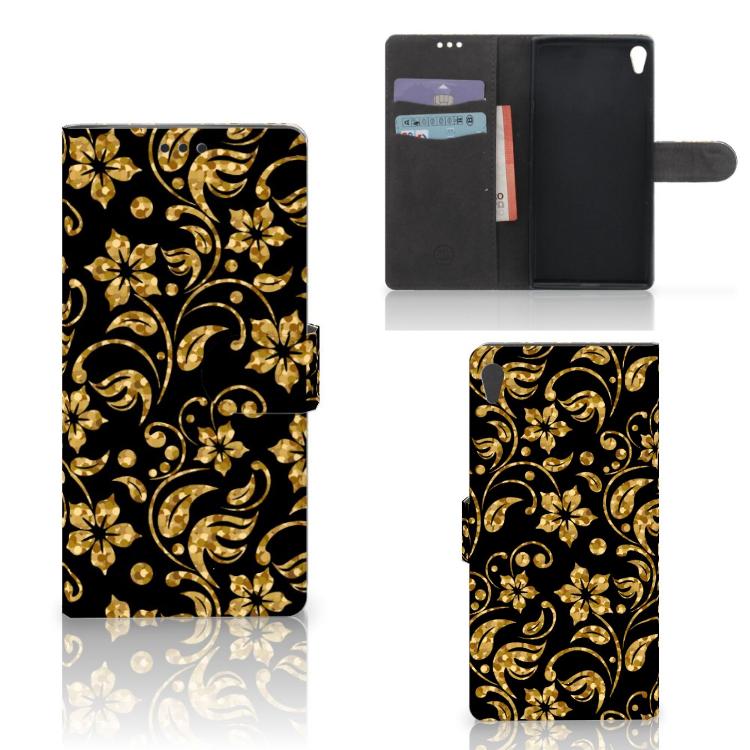 Sony Xperia XA Ultra Hoesje Gouden Bloemen