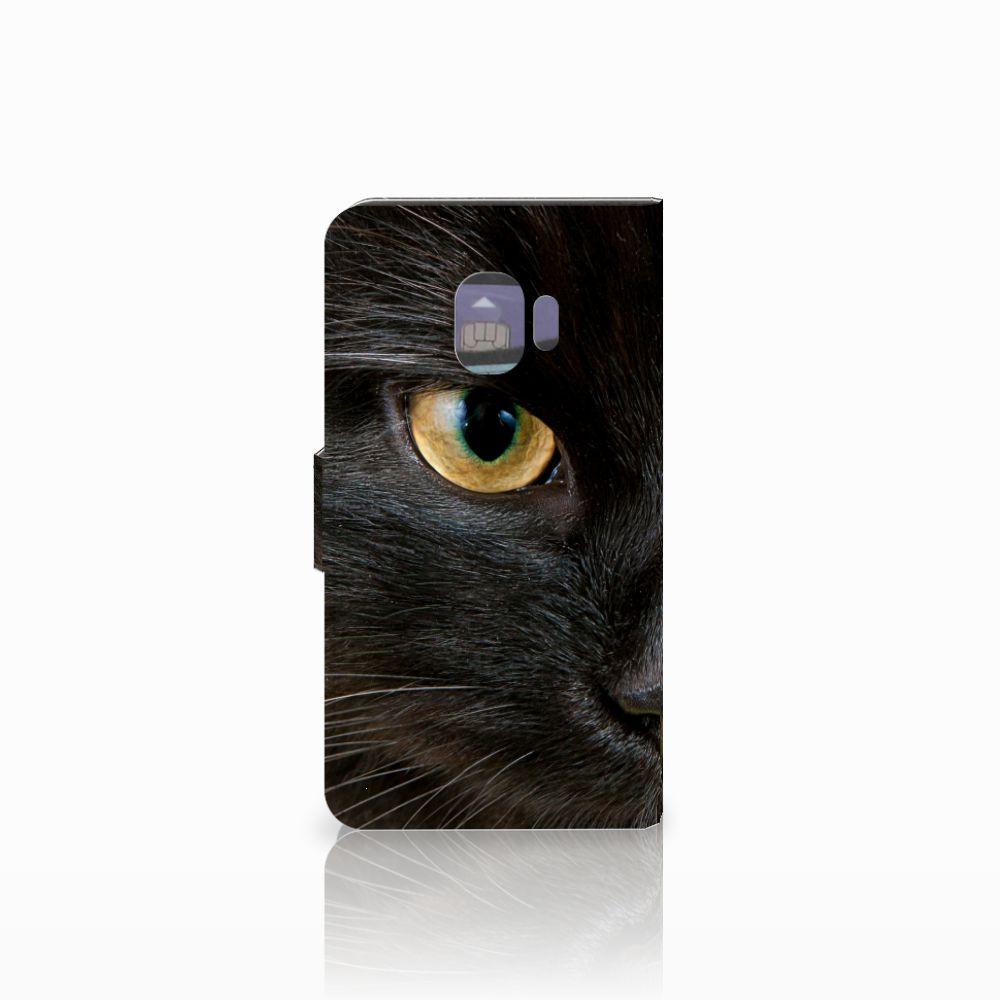 Samsung Galaxy J2 Pro 2018 Telefoonhoesje met Pasjes Zwarte Kat