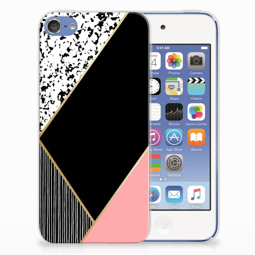 Apple iPod Touch 5 | 6 TPU Hoesje Zwart Roze Vormen