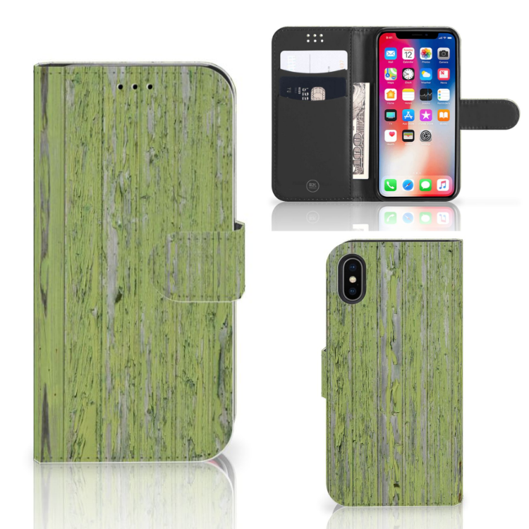 Apple iPhone X | Xs Boekhoesje Design Green Wood
