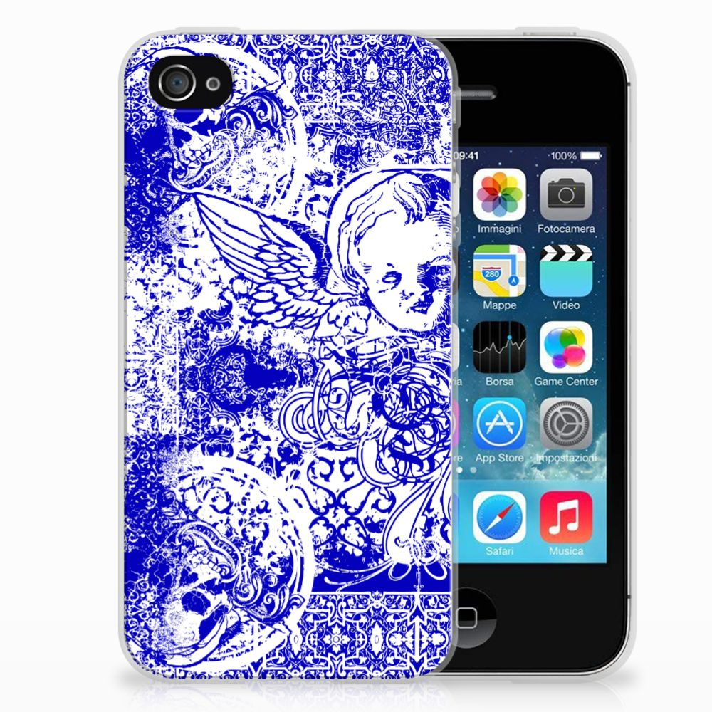 Apple iPhone 4 | 4s Uniek TPU Hoesje Angel Skull Blue