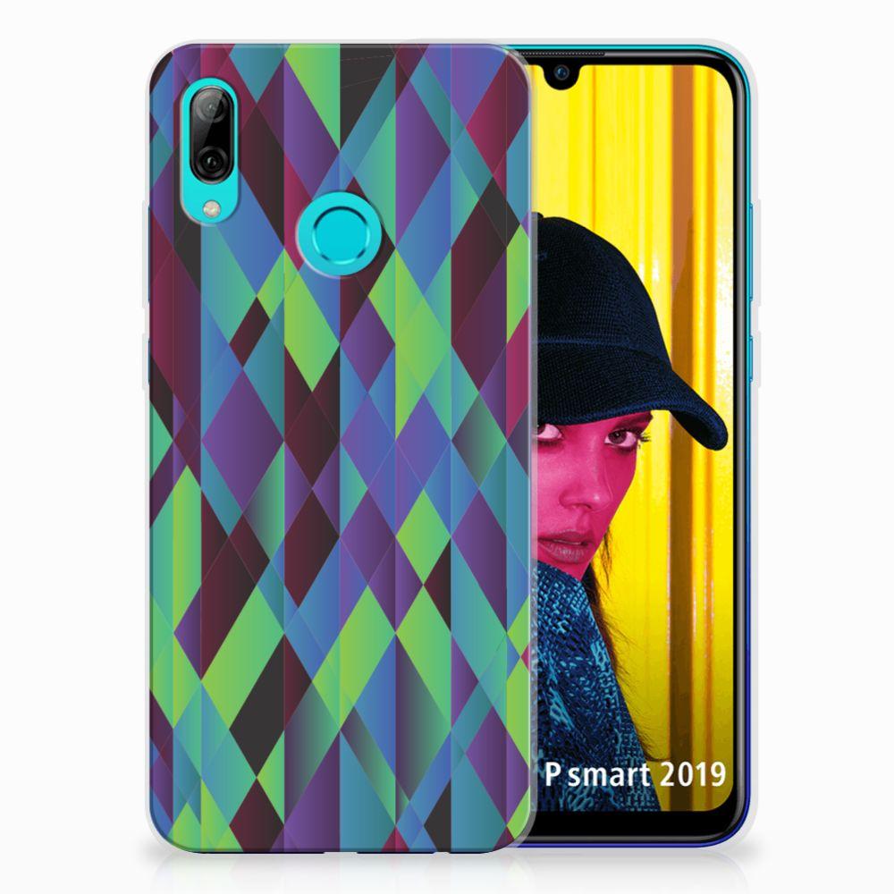 Huawei P Smart 2019 TPU Hoesje Abstract Green Blue