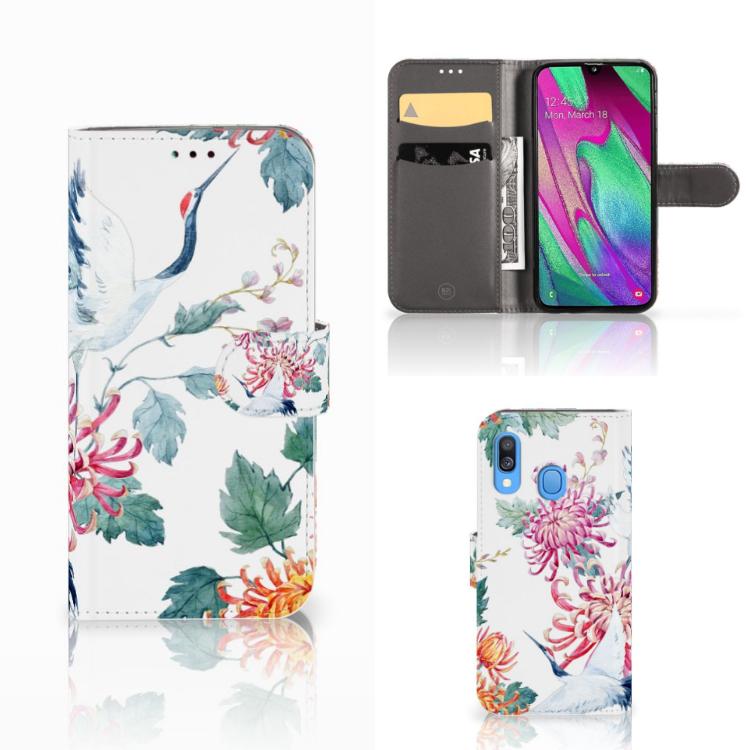 Samsung Galaxy A40 Telefoonhoesje met Pasjes Bird Flowers