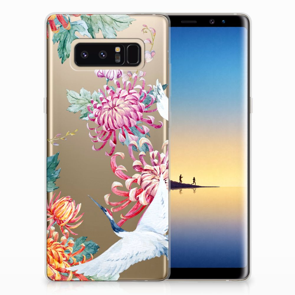 Samsung Galaxy Note 8 Leuk Hoesje Bird Flowers