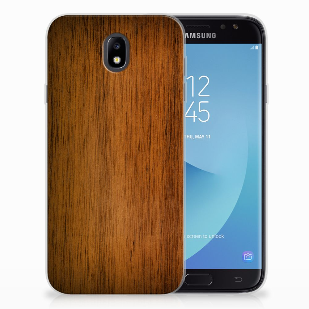 Samsung Galaxy J7 2017 | J7 Pro Bumper Hoesje Donker Hout