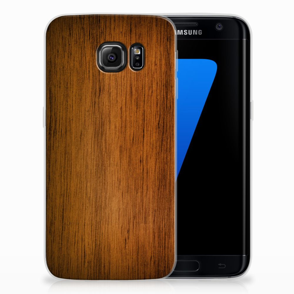 Samsung Galaxy S7 Edge Uniek TPU Hoesje Donker Hout