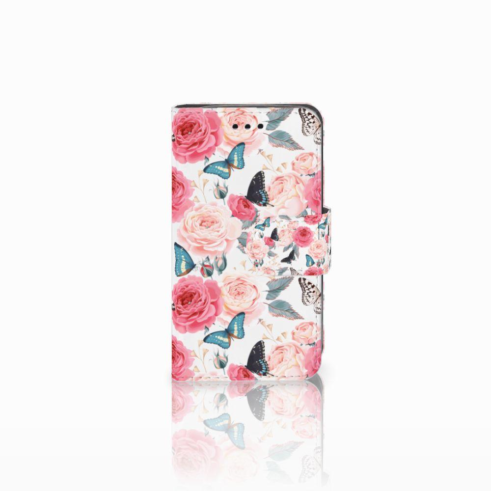 Samsung Galaxy Trend 2 Uniek Boekhoesje Butterfly Roses